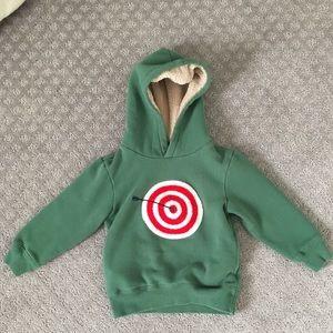 Mini Boden Bulls Eye Sweatshirt, soft lining